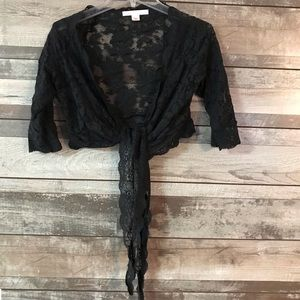 Victoria's Secret black lace wrap top Sm.